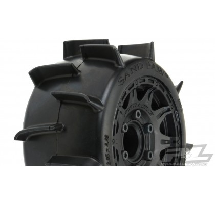 "Sand Paw LP 2.8"" Sand Tires Mounted on Raid Black 6x30 Removable Hex Wheels (2"