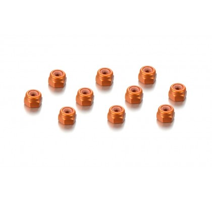 ALU NUT M3 - ORANGE (10)