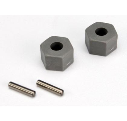 Wheel Hubs, Hex (Tall offset, Rustler®/Stampede® front) (2)/ axle pins (2.5x10mm) (2)