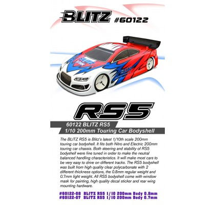 RS5 1/10 200mm Touring Car Bodyshell