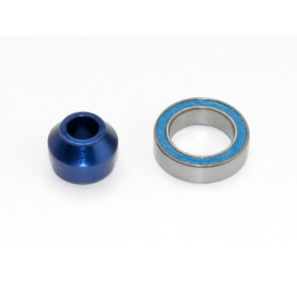 Bearing Adapter, 6160-T6 aluminum (Blue-Anodized) (1)/10x15x4mm ball bearing (blue rubber sealed) (1) (for slipper shaft)