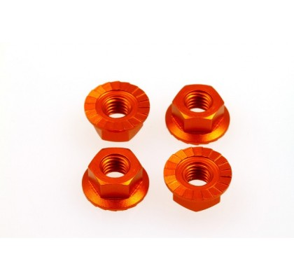 Orange 4mm Alloy Serrated Wheel Nut