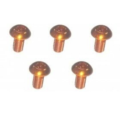 M3x6 Alu 7075 Orange Button Head Hex Screw (5 Pcs)