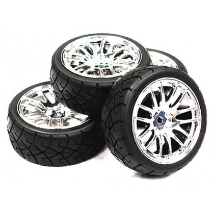 14 Spoke Complete Wheel & Tire Set (4) for 1/10 Touring Car