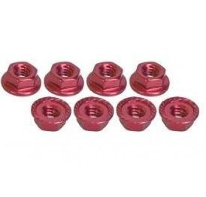 4MM ALUMINUM LOCKNUT SERRATED (8PCS) RED
