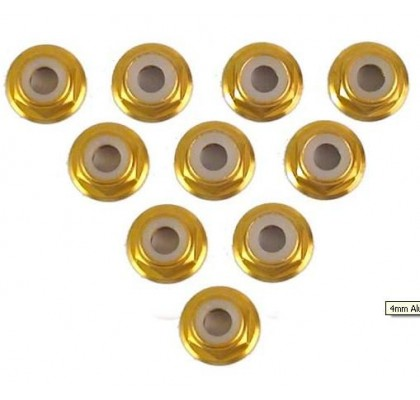 4MM ALUM FLANGED LOCK NUT 10PCS