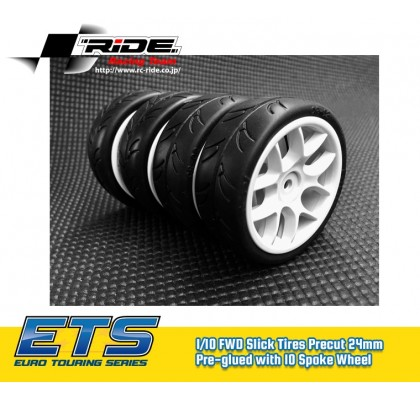 1/10 Tires Precut 24mm Pre-glued with 10 Spoke Wheel White, 4pcs
