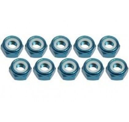 4mm Aluminum Lock Nuts (10 Pcs) - Light Blue