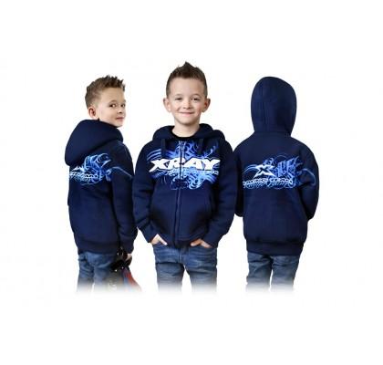Junior Sweater Hodded With Zipper - Blue (XXL/158cm)